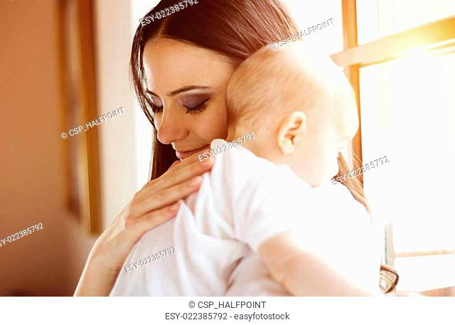 Little baby girl with her mother