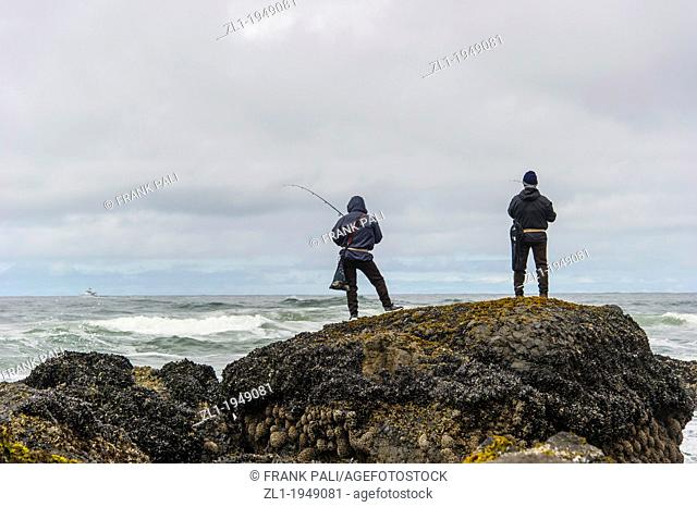 Fishing at Indian beach. Cannon Beach,Oregon USA