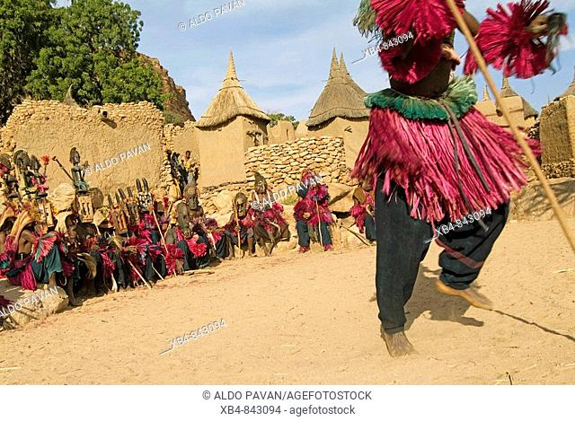 Dogon's traditional dance, Tirelli, Dogon Country, Mali