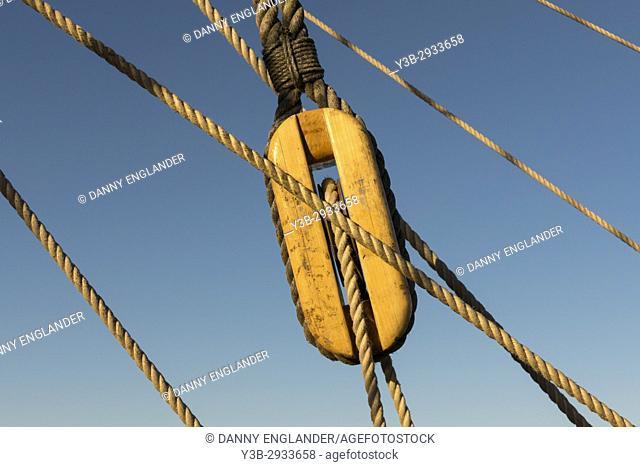 Closeup of a sailboat rope pulley