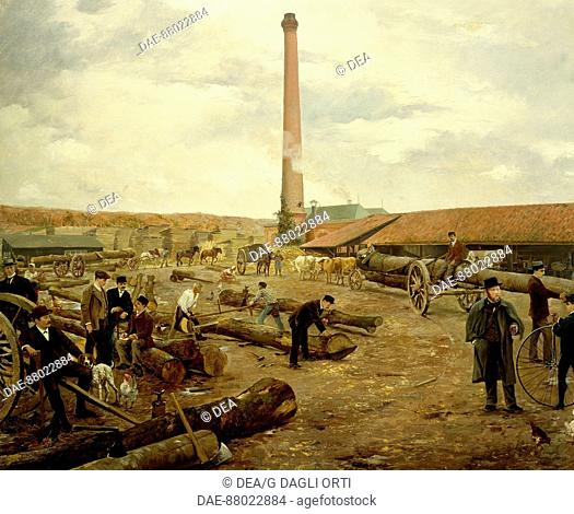 The Villeres Cotteret sawmill in 1889, detail, by Roy.  Soissons, Musée De Soissons