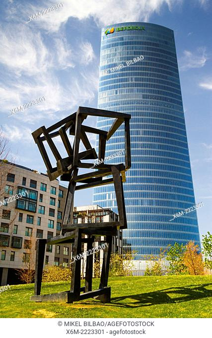"Iberdrola Tower and """"Chaos Nervion"""" sculpture. Bilbao, Biscay, Basque Country, Spain, Europe"