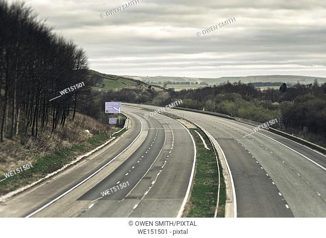 Empty motorway in the Lake District,UK