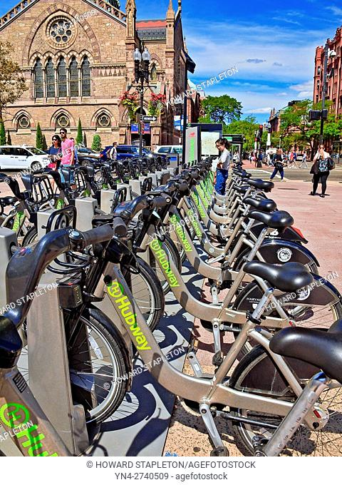 Hubway bike share stand in downtown Boston, Massachusetts. Hubway is a bicycle share program founded by the City of Boston