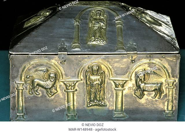 italy, emilia romagna, nonantola, abbey, casket