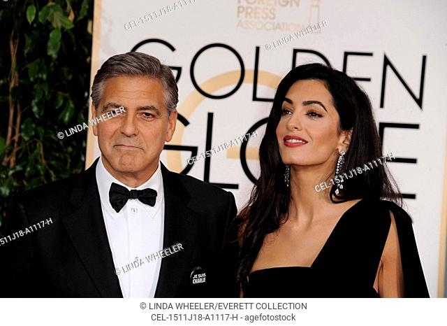 George Clooney, Amal Alamuddin at arrivals for The 72nd Annual Golden Globe Awards 2015 - Part 1, The Beverly Hilton Hotel, Beverly Hills, CA January 11, 2015