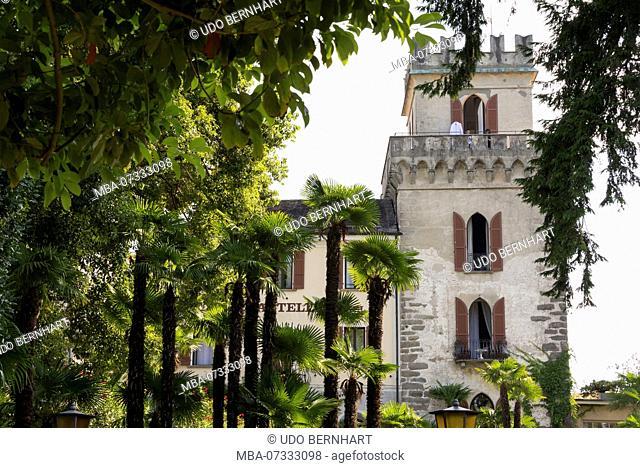 Waterfront promenade and Castello castle on Lungolago, Ascona, Lake Maggiore, Ticino, Switzerland