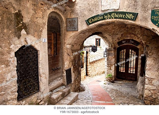 Entryway to homes and shops in ancient town of Eze, Provence France