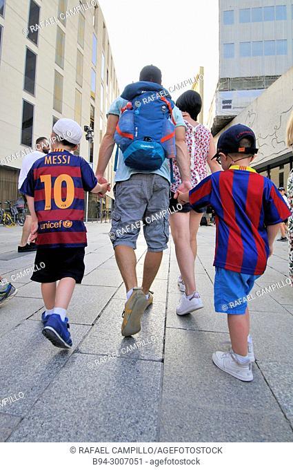 Family. Boys with T-shirt of Football Club Barcelona. Barcelona, Catalonia, Spain