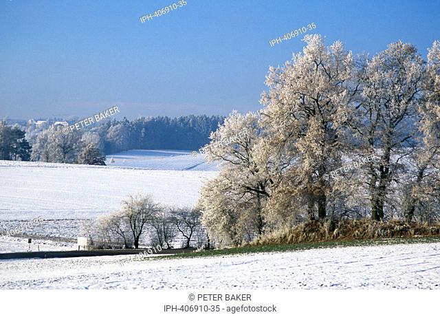 Frost and snow covered countryside near Munich