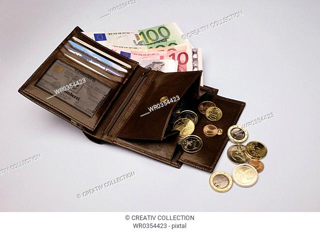 euro coins and banknotes in a leather wallet