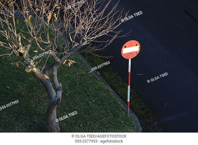 No entry traffic sign. Ponta Delgada, Sao Miguel island, Azores, Portugal