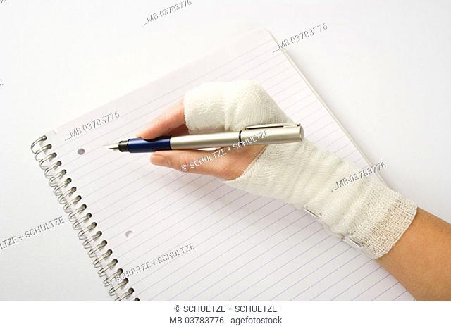 Woman, detail, hand, association, writes,  Block, fountain pens,  Medicine, illness, women hand, female patient, injury, wound, protective bandage, bandage