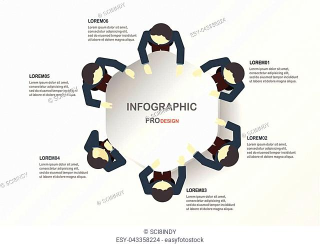 Abstract infographics with business men. Template for business presentation and motion graphic with space for text