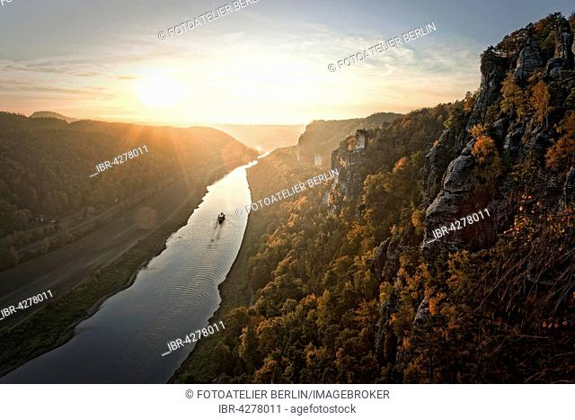 View of Elbe from bastion, sunset, Elbe Sandstone Mountains, Saxon Switzerland National Park, Saxony, Germany