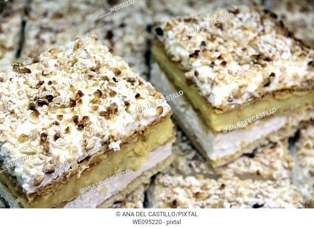 Costrada puff pastries with cream and meringue typical from Alcala de Henares Madrid Spain