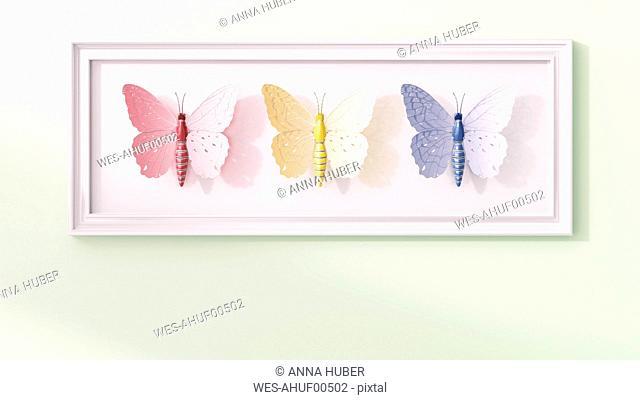 Artificial technical butterflies in a frame, 3d rendering