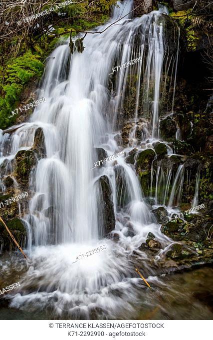 A small roadside waterfall near Mt. Hood, Oregon, USA