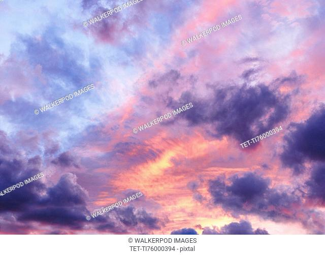 Moody and dramatic colorful sky at sunset