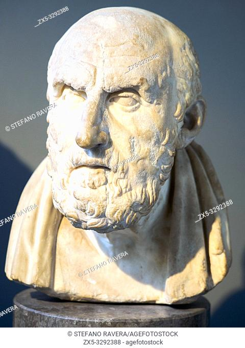 Marble head of Chrysippus (c. 281/77 - 208/4 BC). Roman copy after a lost Greek original of the third or second century BC