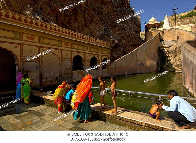 Galta temple with pond ; Jaipur ; Rajasthan ; India