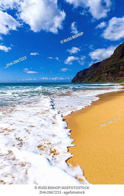Surf and sand at Polihale Beach, Polihale State Park, Island of Kauai, Hawaii USA