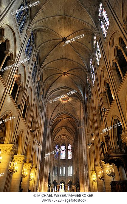 Interior, ceiling structure, Cathedral of Notre-Dame de Paris, Ile de la Cité, Paris, France, Europe