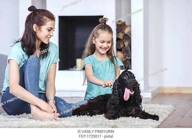 Smiling mother looking at daughter brushing dog hair in living room at home