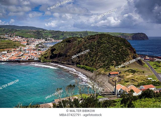 Portugal, Azores, Faial Island, Horta, elevated view of Monte Quelmado