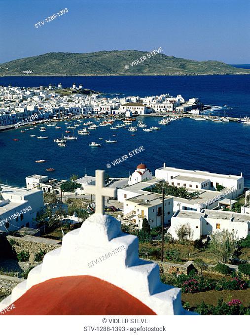 Aegean, Boating, Boats, Church, Cross, Cyclades, Dock, Europe, Greece, Europe, Harbor, Holiday, Hora, Islands, Landmark, Mykonos