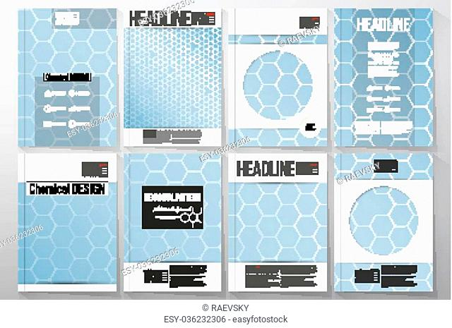 Set of business templates for brochure, flyer or booklet. Chemistry pattern, hexagonal design vector illustration