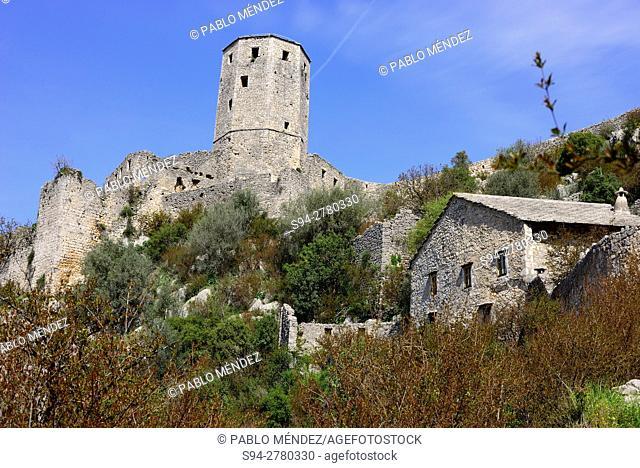 View of the castle of Pocitelj, Capljina, Bosnia and Herzegovina