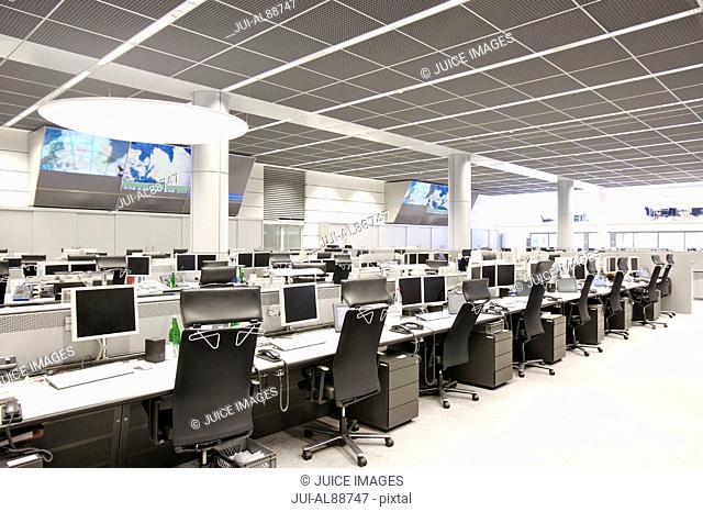 Empty computer terminals at stock market