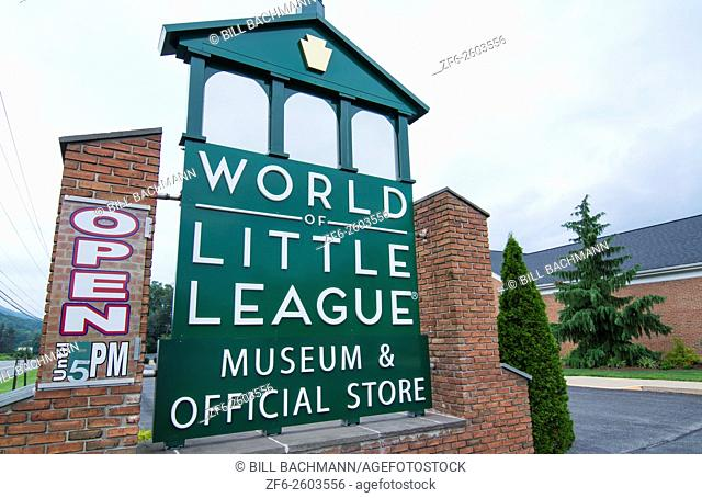 Williamsport, Pennsylvania home of Little League World Series baseball young boys sports sign