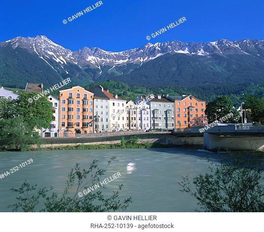Buildings along the river Inn, Innsbruck, Tirol Tyrol, Austria, Europe