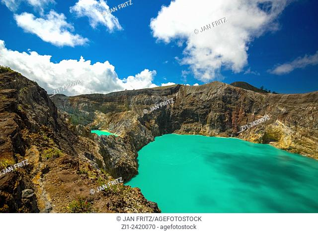 colourful volcanic lake of kelimutu volcano at flores indonesia