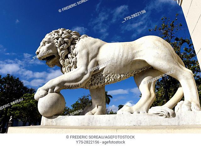 Lion statue near Cathedral, Cienfuegos, Cuba