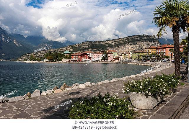 Lake Garda, northern bank and Torbole promenade, Monte Brione rock massif, Trentino Province, Italy