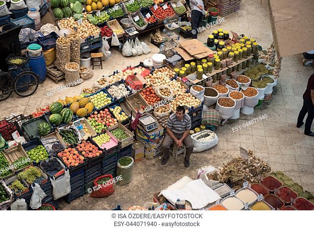 Top view of popular Melike Hatun Bazaar or kadinlar pazari(Women Bazaar) that is a traditional Turkish grocery bazaar where people buy Vegetables