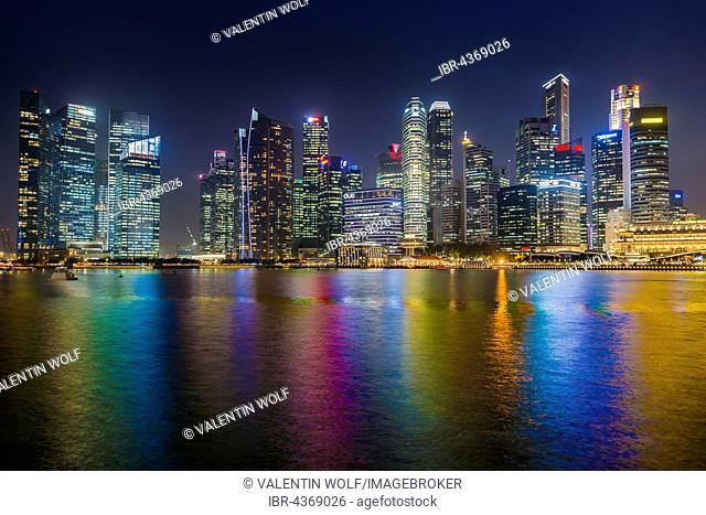 Skyline, Night Scene, Downtown, Financial District, Central Business District, Marina Bay, Downtown Core, Singapore