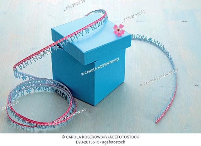 Birthday present in a blue box