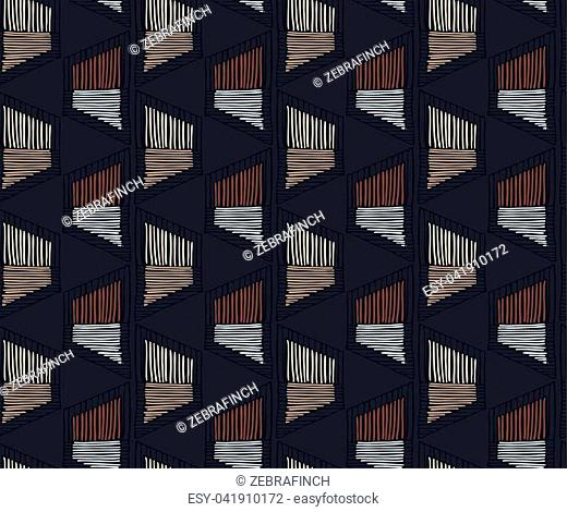 Striped shapes on black.Hand drawn seamless background.Hatched pattern. Fabric design
