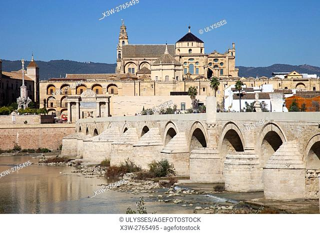 View with Mosque-Cathedral, Roman bridge and Puerta del Ponte, Cordoba, Andalucia, Spain, Europe