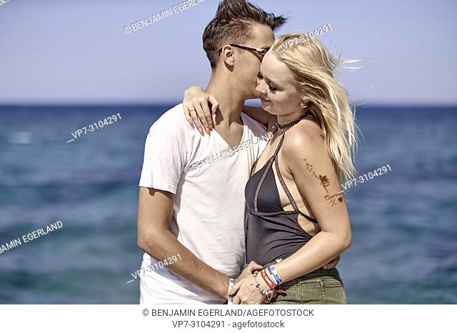 Greece, Crete, Chersonissos, couple next to sea