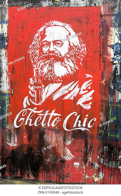 ghetto chic, street art portrait of karl marx holding a bottle, parody of coca cola advertisement, london, england