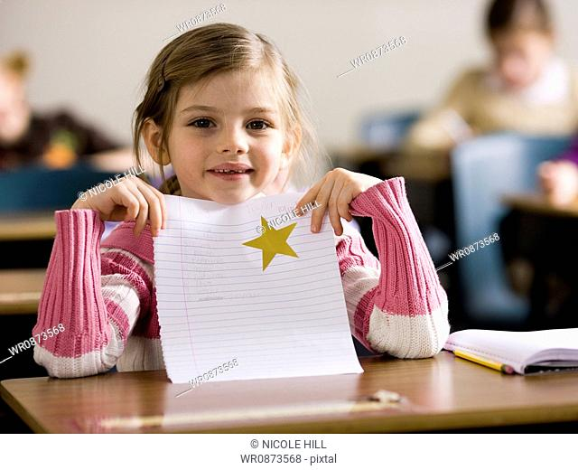 girl with gold star