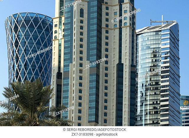 Skyscrapers in the financial area of Doha, the capital of Qatar in the Arabian Gulf country