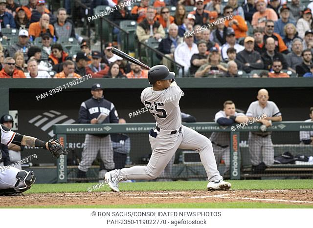 New York Yankees second baseman Gleyber Torres (25) singles in the eighth inning against the Baltimore Orioles at Oriole Park at Camden Yards in Baltimore
