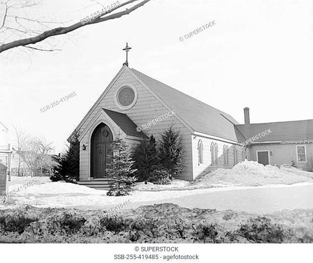 Winter, exterior view of St. Michael's Episcopal Church