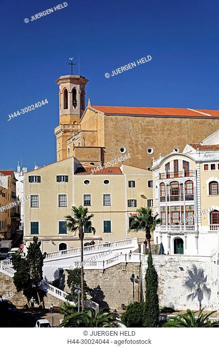Menorca Mahon old city center Eglesi Santa Maria Casa Mir Art Deco Building